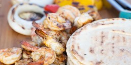 Grilled Shrimp and Halloumi Pitas
