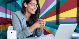 woman, blazer, virtual presentation